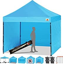 ABCCANOPY Canopy Tent Popup Canopy 10x10 Pop Up Canopies Commercial Tents Market stall with 6 Removable Sidewalls and Roller Bag Bonus 4 Weight Bags and 10ft Screen Netting and Half Wall, Sky Blue