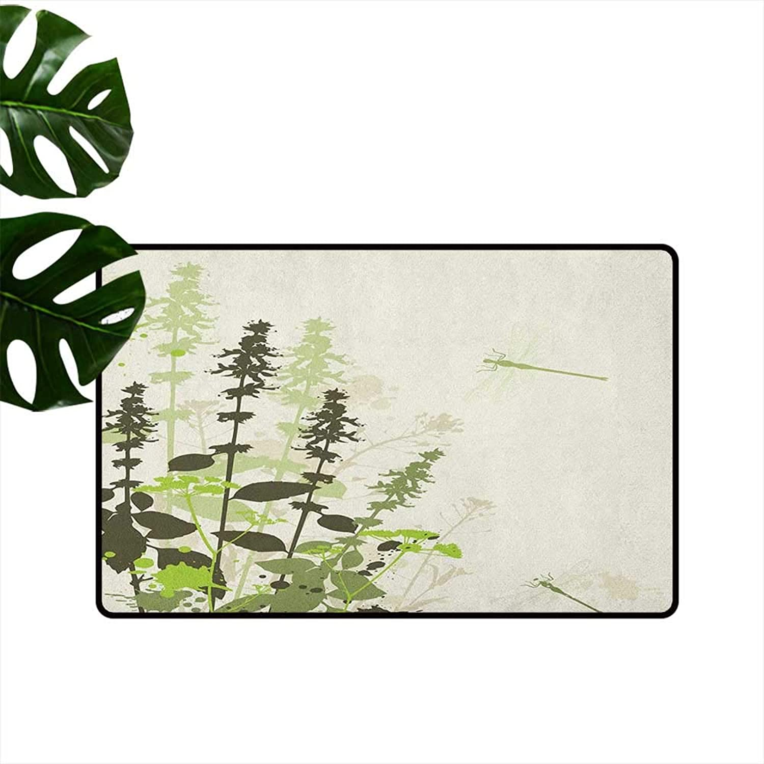 Dragonfly Fashion Door mat Nature Plants Grass with Wildflowers with Paintbrush Effects Print Antifouling W29 x L39 Army and Pale Green Cream