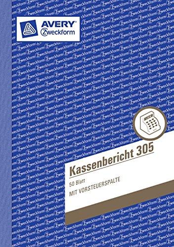 Avery Zweckform 305 Kassenbericht, DIN A5, vorgelocht, 50 Blatt, weiß (3er Pack)