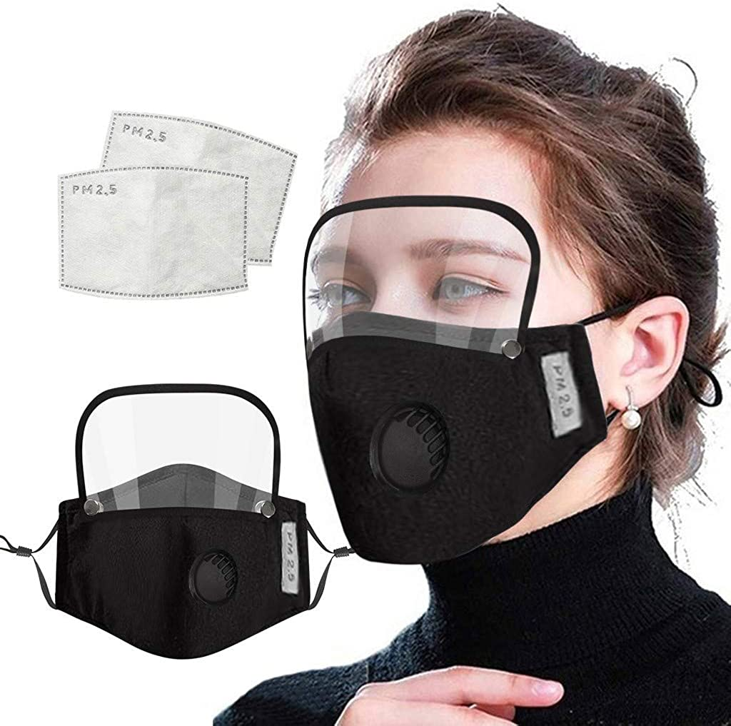 Reusable Face Bandanas with Breathing Hole, with Detachable Eyes Shield and 2pcs Activated Carbon Replaceable Filters Washable Comfortable Face cotton fabric For Adult : Clothing, Shoes & Jewelry