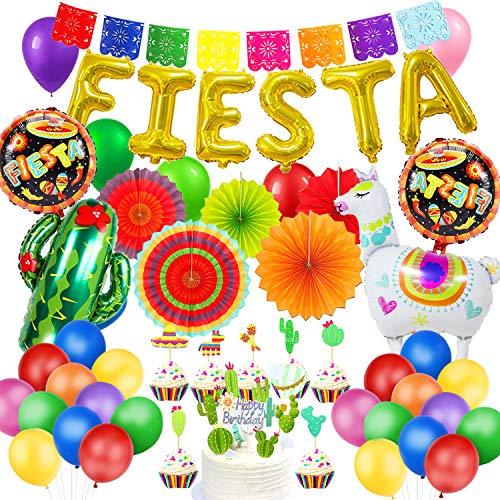 MMTX Mexiko Fiesta Party Bunte Geburtstags Dekorationen mit Papierfächer Alpaka Kaktus Folienballons Mexikanisches Banner Girlanden Cake Topper zum Cinco de Mayo Fiesta Geburtstags Party