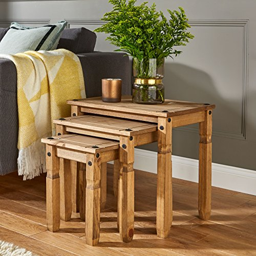Home Source Nest of Tables Solid Pine Corona Mexican Pine Table Set of 3