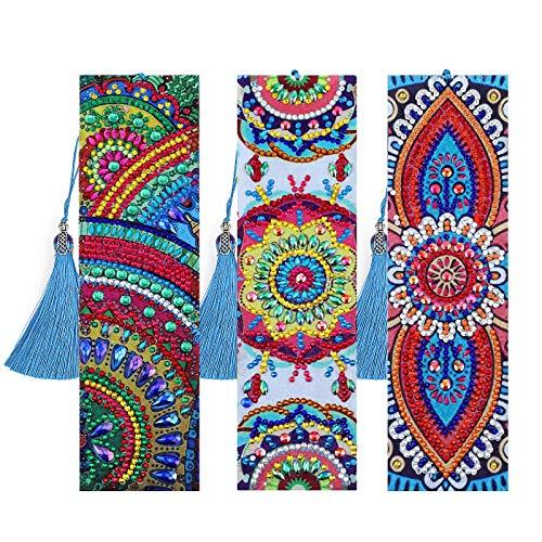 MWOOT 3 Stücke 5D Diamant Malerei Lesezeichen Kits,Mandala Diamond Painting Bookmark,DIY Perlen Leder Quaste Lesezeichen für Kinder Erwachsene Anfänger Geschenk