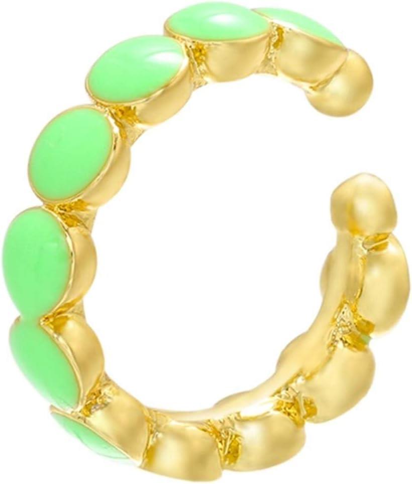 Fashion 1 Piece Gold Color Women Ear Cuffs Enamel Style Ear Clips No Pierced Earrings Women (Metal Color : Green 1piece)