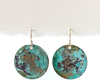 Distressed Turquoise on Copper Patina Earrings