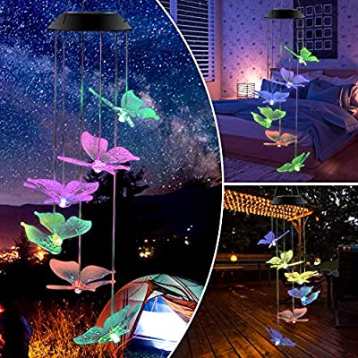 Butterfly Solar Wind Chimes Led Colors Changing Solar Night Lights Gift for Mom Grandmo Decorative Romantic Patio Lights for Yard Garden Home