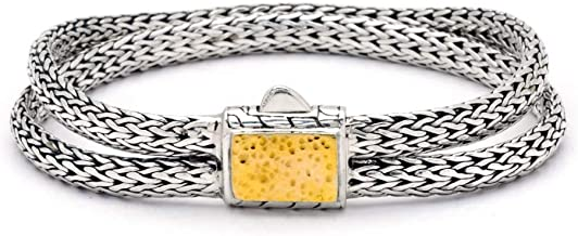 Deni Jewelry 925 Sterling Silver and 18 Kt Yellow Gold Hammered in The Middle Bracelet with Double Tulang Naga Oval Chain 3x5 with Spring Lock for Women and Jewelry Gift, Length 7 Inch Stamp 925 18K