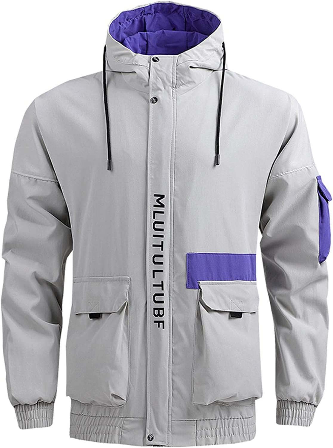 FUNEY Men's Casual Outdoor Raincoat Shell Jacket Lightweight Hooded Hiking Travel Shirts Jackets with Multi-Pockets