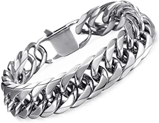 Hermah Heavy Mens Bracelet Chain 316L Stainless Steel Silver Gold Black Color Punk Double Curb Cuban Rombo Link 10/15mm 7-...