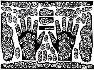 Bluelans Tattoo Templates Hands/Feet Henna Tattoo Stencils for Airbrushing Mehndi Body Painting - Random Style