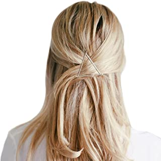 MANDI HOME Cute And Stylish Triangle Metal Hairpin Hair Clip Clamps Accessories Barrettes Bobby Pin Ponytail Holder Can Turn Some Simple Hairstyle (Silver)
