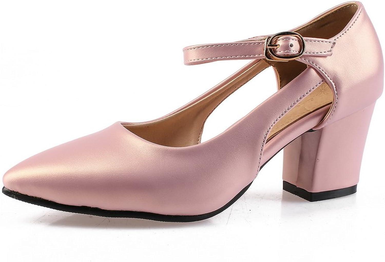BalaMasa Womens Chunky Heels Metal Buckles Pointed-Toe Urethane Pumps shoes