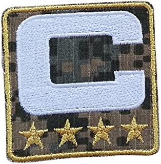 Camo Captain C Patch (4 Gold Stars) Camouflage Iron On for Jersey Football, Baseball. Soccer, Hockey, Lacrosse, Basketball