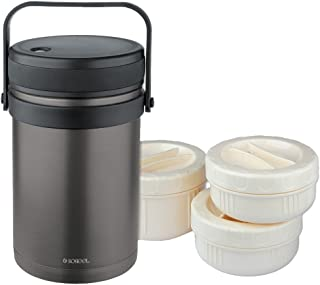 Isosteel VA-9683AT 51 ounce Stainless Steel Double-Wall Vacuum Food Container Color Coated...