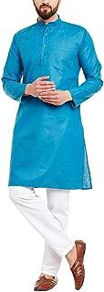 Himashu Handlooms Men's Cotton Long Kurta (Sky Blue)