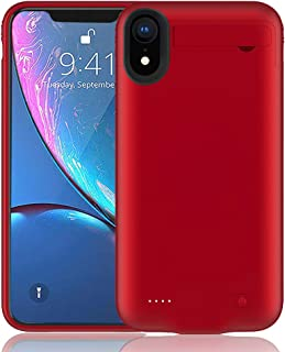 Battery Case for iPhone XR,FNSON 4200mAh Portable Charger Case Ultra-Thin Rechargeable Extended Battery Pack Protective Backup Charging Case Cover for iPhone XR (6.1 inch) Power Bank - Red