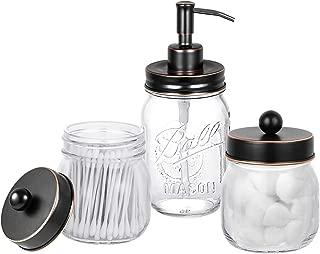 Mason Jar Bathroom Accessories Set - Includes Mason Jar Hand Soap Dispenser and 2 Pcs Qtip Holder - Rustic Farmhouse Decor Apothecary Jars Bathroom Countertop and Vanity Organizer (Oil Rubbed Bronze)