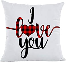 YOENYY I Love You Quotes Throw Pillow Cover Cushion Case for Sofa Couch Valentines Day Home Decor Cotton Polyester 18 x 18 Inch