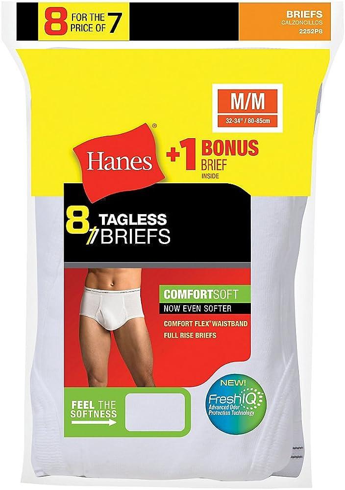 Hanes Men's No Ride Up Brief 8-Pack (Includes 1 Free Bonus Brief)