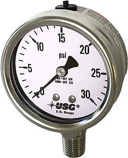"""Sponsored Ad - Ametek US Gauge 2.5"""" Dial Model 656 Liquid Filled All Stainless Steel Pressure Gauge 0 to 30 PSI"""