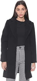 Andiamo Fashion Notched Lapel Side Pockets Solid Coat for Women L
