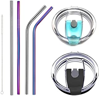 Aigemi 100% Spill Proof Lids with Stainless Steel Drinking Straws for 30 oz Yeti Tumbler,Rtic Tumbler(Old),Ozark Trail and More Brand Stainless Steel Tumblers