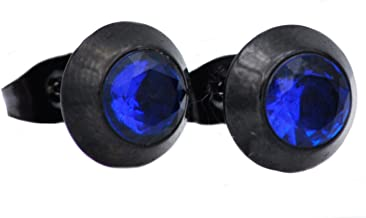 Mens Blackjack Stainless Steel Earrings With Cubic Zirconia