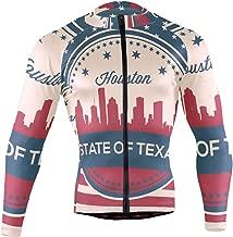 Texas State Houston Skyline Men's Long Sleeve Cycling Jersey Bicycle Jacket Pockets Full Zipper Bike Biking Shirts