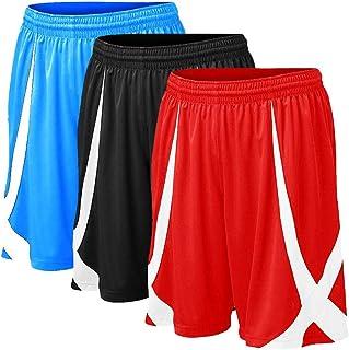 TOPTIE 3 Pack Men`s Basketball Shorts, Flag Football Shorts No Pockets, MMA Pro Shorts