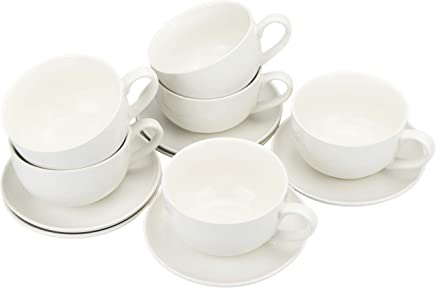 Preisvergleich für COM-FOUR® 12-teiliges Cappuccino-Set, Tasse mit Untertasse aus Keramik in weiß (12-teilig - Cappuccino-Set)