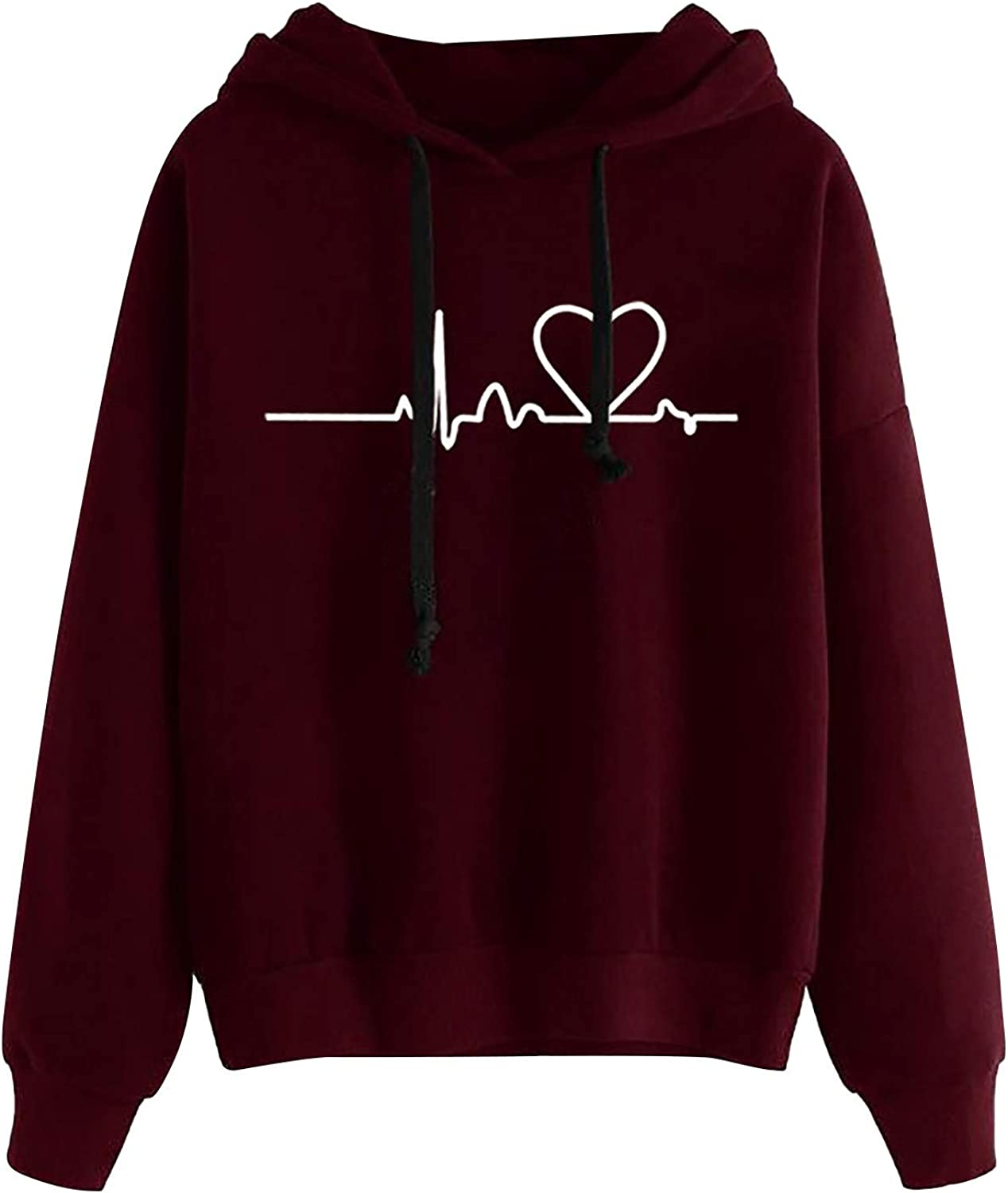 AODONG Hoodies for Womens Long Sleeves Cute Electrocardiogram Printed Hooded Sweater Pullover Tops