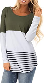 SUNNYME Women's Long Sleeve Shirts Blouses Crew Neck Solid Plus Size Casual Tunic Tops Sweatshirts