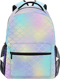 Mochila escolar bolsa portátil bolsas de viaje para niños, niñas, mujeres, hombres, cola de sirena, rayas Moire arco iris océano mar