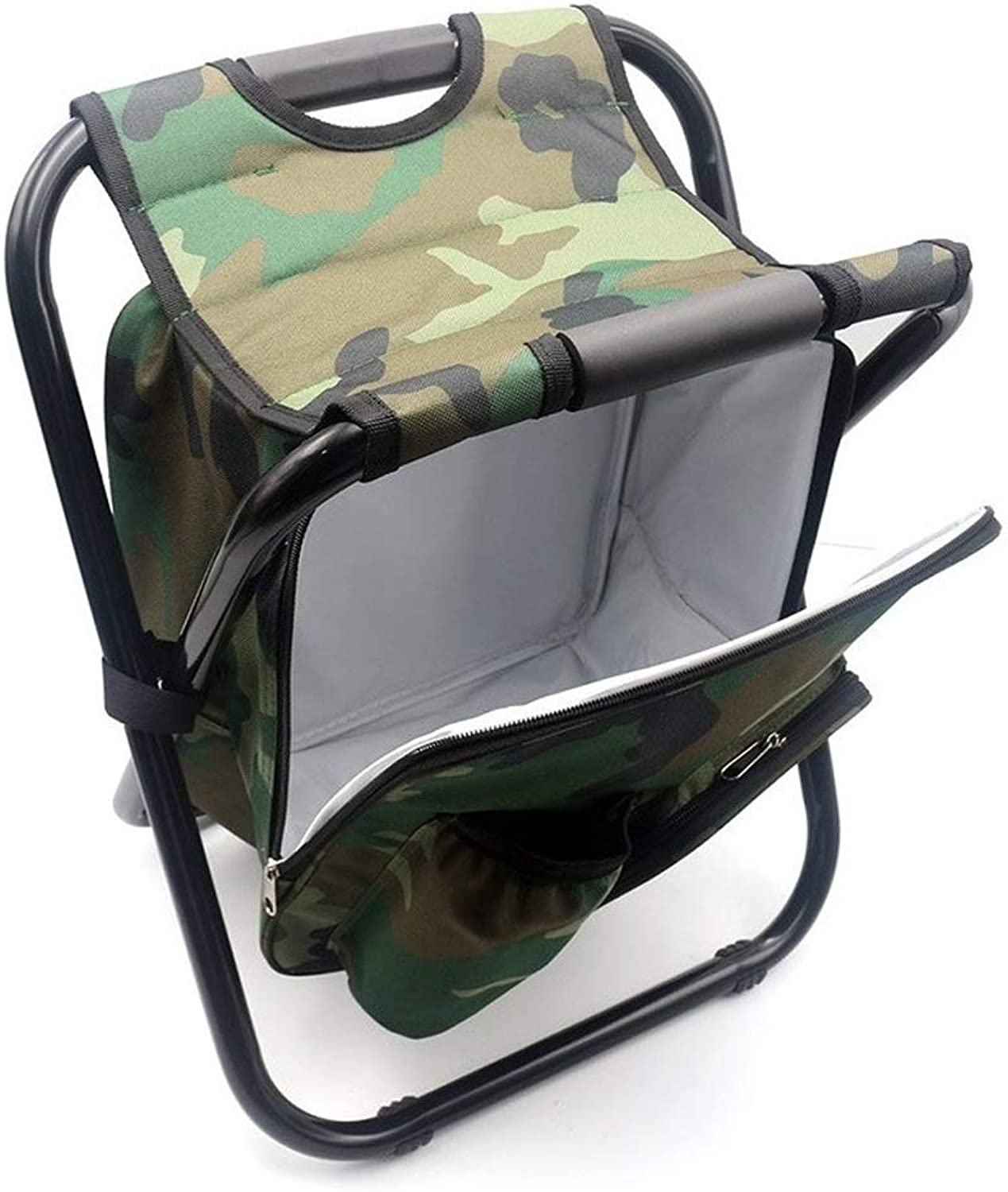 RFJJAL Folding Camping Fishing Chair Stool Backpack with Cooler Insulated Picnic Bag Hiking Camouflage Seat Table Bag