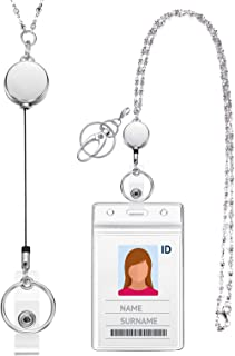 Lanyard with ID Holder Retractable Badge ReelLanyards for Women Fashion Stainless Steel Necklace with Water Resistant Name Badge Holder Clip (Silver)