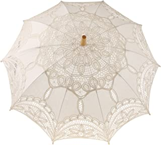 D DOLITY Wedding Bride Lace Parasol Hollow Flower Design Umbrella Wedding Prop