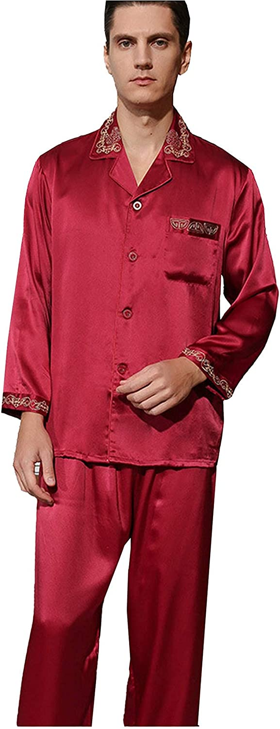 FMOGG Men's Pajamas Set 22 Mumi Heavy Silk Embroidered Pajamas Men's Spring Autumn Long-Sleeved Sleepwear Button Down Tops and Pants Mulberry Silk Nightgown Home Service