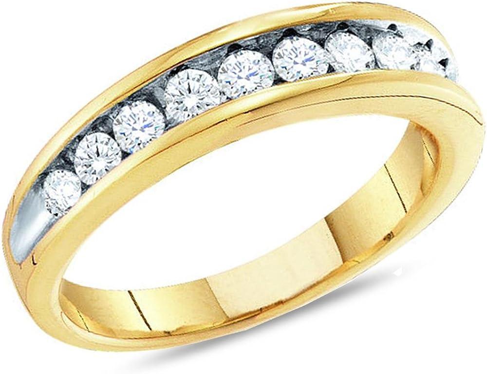 10K Yellow Gold 1/4 Carat (ctw J-K, I2-I3) Diamond Wedding Anniversary Band Ring