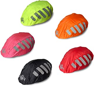 BTR High Visibility Universal Size Bike/Bicycle Waterproof Helmet Cover with Reflective Stripes - One Size Fits All