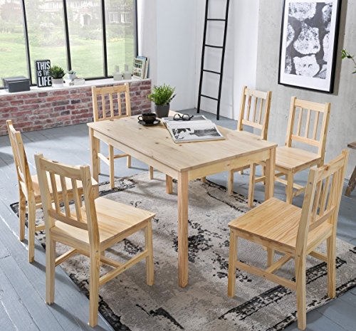 Wohnling Esszimmer-Set Emil 7 teilig Kiefer-Holz Landhaus-Stil 120 x 73 x 70 cm | Natur Essgruppe 1 Tisch 6 Stühle | Tischgruppe Esstischset 6 Personen | Esszimmergarnitur massiv