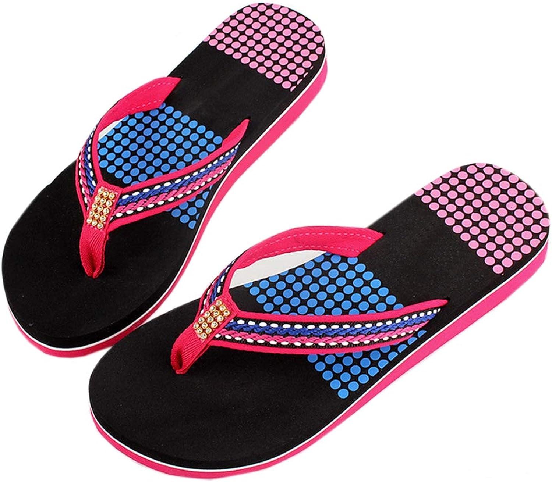 Sandals Flip-Flops Women Wedges High Heels Platform Beach Thong Sandals Slippers,Purple,36