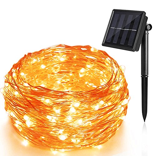 Solar Lichterkette 100 LED 12 Meter solarbetriebene Kupferdraht Lichter Sternenlicht Innen Außen 8 Modi IP65 wasserdicht Sternenlicht für Partys Garten Hochzeiten Aussen Dekoration, Warmweiß