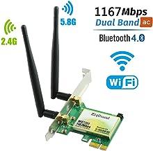 Ziyituod Tarjeta WiFi, AC inalámbrico de 1200Mbps con Adaptador Bluetooth 4.0, Tarjeta de Red WiFi PCI Express (PCIe) Tarjeta de Banda Dual (2.4GHz / 5GHz) PCI-e para Juegos de Escritorio/PC