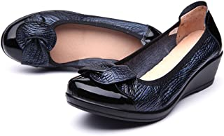 libre comme l'air Women Pumps Slip-On Leather Shoes with Wedge, Casual Loafer Moccasins Boat Shoes
