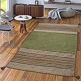 TT Home Handwebteppich Wohnzimmer Natur Webteppich Kelim Modern Baumwolle Streifen Grün, Größe:80x150 cm