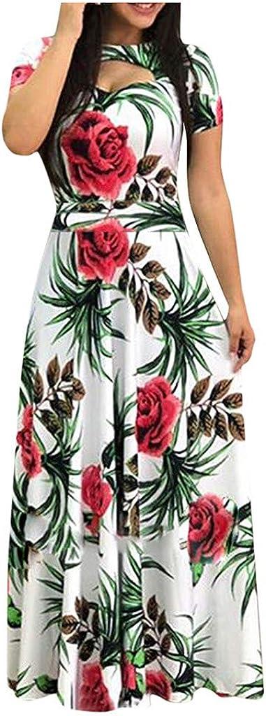 Shakumy Women Short Sleeve Floral Print Long Maxi Dress Casual Summer Beach Sundress Elegant Boho Patchwork Tunic Dress