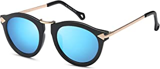 UV400 Womens Round CatEye Sunglasses with Design Fashion Frame and Flash Lens Option