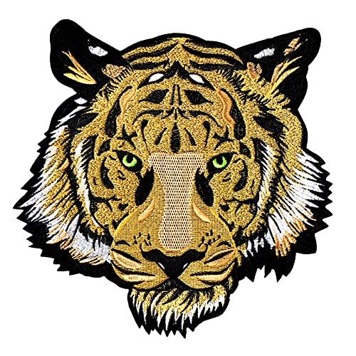 SPEETH Tête de Tigre Autocollants en Tissu, 25cm écussons Thermocollants tigrés pour Vêtements ou Couvertures, Tigre écusson Brodé Thermocollant, Brodée Tissu Patches DIY Iron on Patches