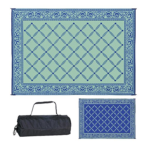 Reversible Mats 119123 Outdoor Patio 9-Feet x 12-Feet, Blue/Light RV Camping Mat