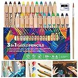 Colozoo - Matite colorate 3 in 1   Set di 24 colori inclusi pennello e temperamatite   Colori vegani atossici a partire dai 3 anni
